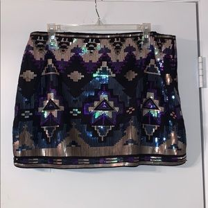 Express Sequined Mini Skirt, Size L